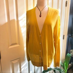 NWOT Loft Mustard colored XL Button Down Cardigan